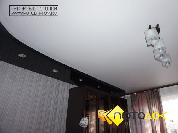 Двухуровневый натяжной потолок в гостиной фото