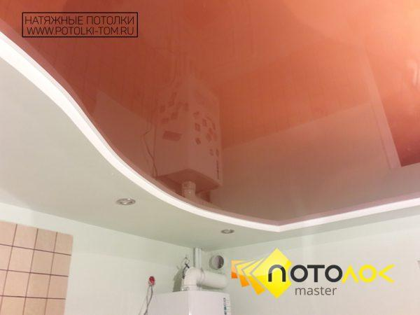 Двухуровневый натяжной потолок в кухне фото