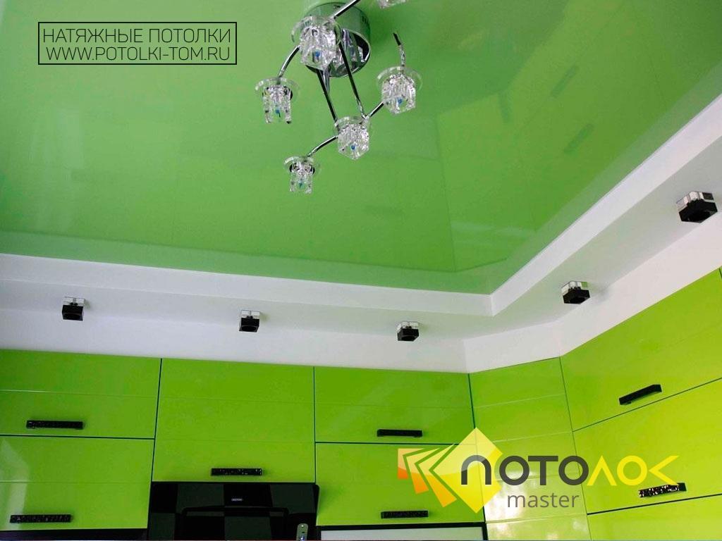 Натяжные потолки на кухне фото