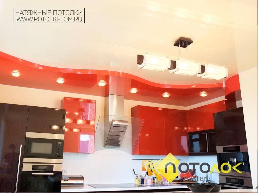 Натяжной потолок на кухне фото