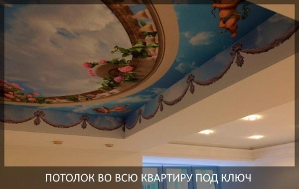 Натяжной потолок в однокомнатной квартире с фотопечатью