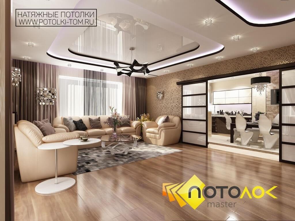 Натяжные потолки в частных домах фото