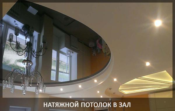 Натяжной двухуровневый потолок в зале фото