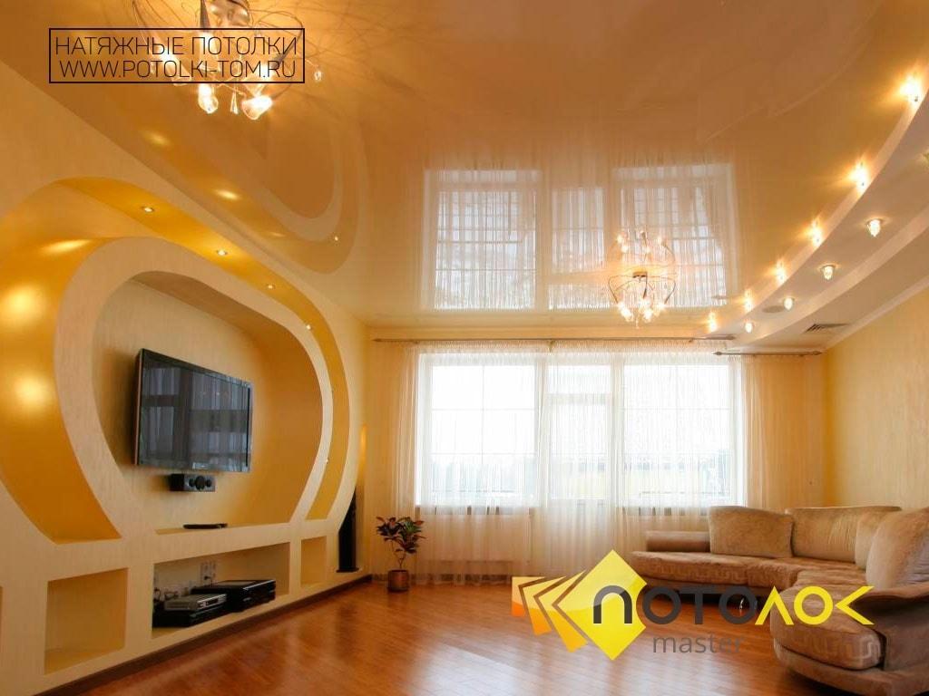Натяжные потолки в гостиной от производителя в Томске и Северске.